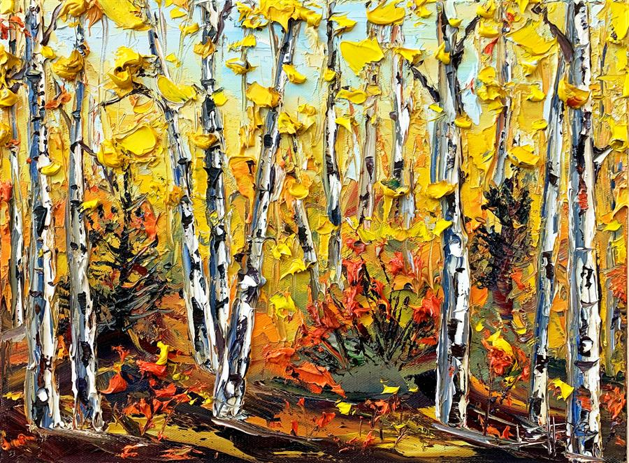 Original art for sale at UGallery.com | Impressions of Fall by Lisa Elley | $575 | oil painting | 12' h x 16' w | ..\art\oil-painting-Impressions-of-Fall
