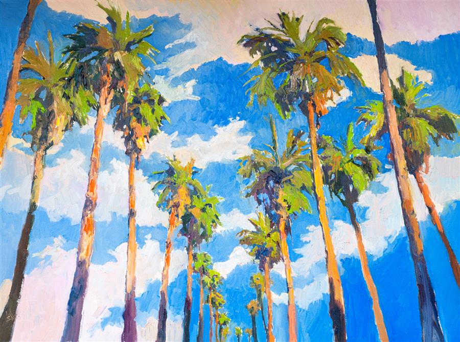 Original art for sale at UGallery.com | Palm Trees and Sky by Suren Nersisyan | $1,800 | oil painting | 30' h x 40' w | ..\art\oil-painting-Palm-Trees-and-Sky