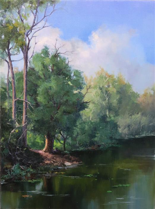 Original art for sale at UGallery.com | Afternoon by the Riverside by Andres Lopez | $1,250 | oil painting | 24' h x 18' w | ..\art\oil-painting-Afternoon-by-the-Riverside