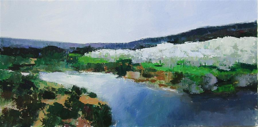Original art for sale at UGallery.com | River and Olive Trees, Provence by Janet Dyer | $1,125 | acrylic painting | 15' h x 30' w | ..\art\acrylic-painting-River-and-Olive-Trees-Provence