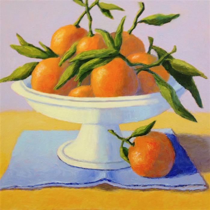 Original art for sale at UGallery.com | Mandarin Oranges by Pat Doherty | $975 | oil painting | 18' h x 18' w | ..\art\oil-painting-Mandarin-Oranges
