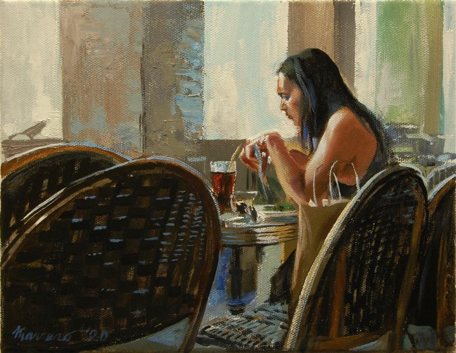 Original art for sale at UGallery.com | A Break from Shopping by Onelio Marrero | $500 | oil painting | 8' h x 10' w | ..\art\oil-painting-A-Break-from-Shopping