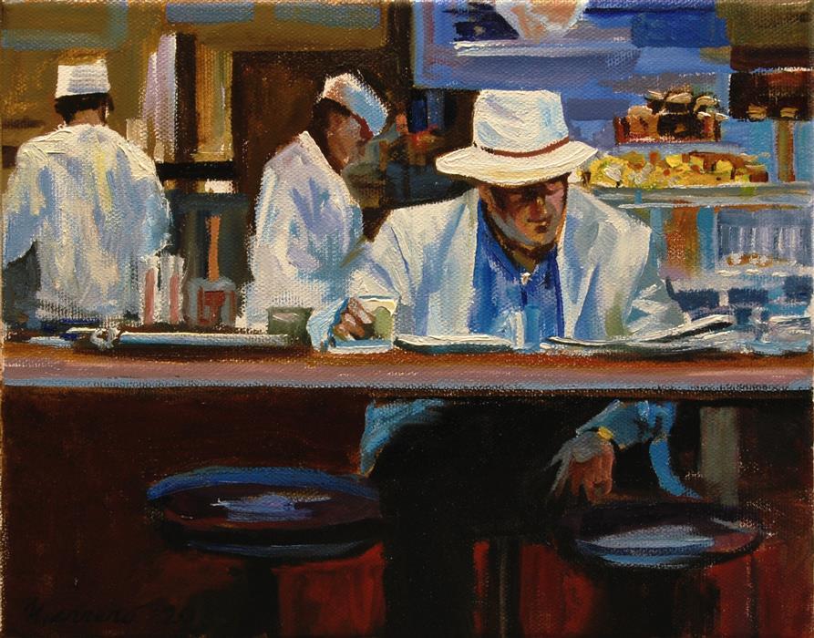 Original art for sale at UGallery.com | Breakfast Al Fresco by Onelio Marrero | $500 | oil painting | 8' h x 10' w | ..\art\oil-painting-Breakfast-Al-Fresco