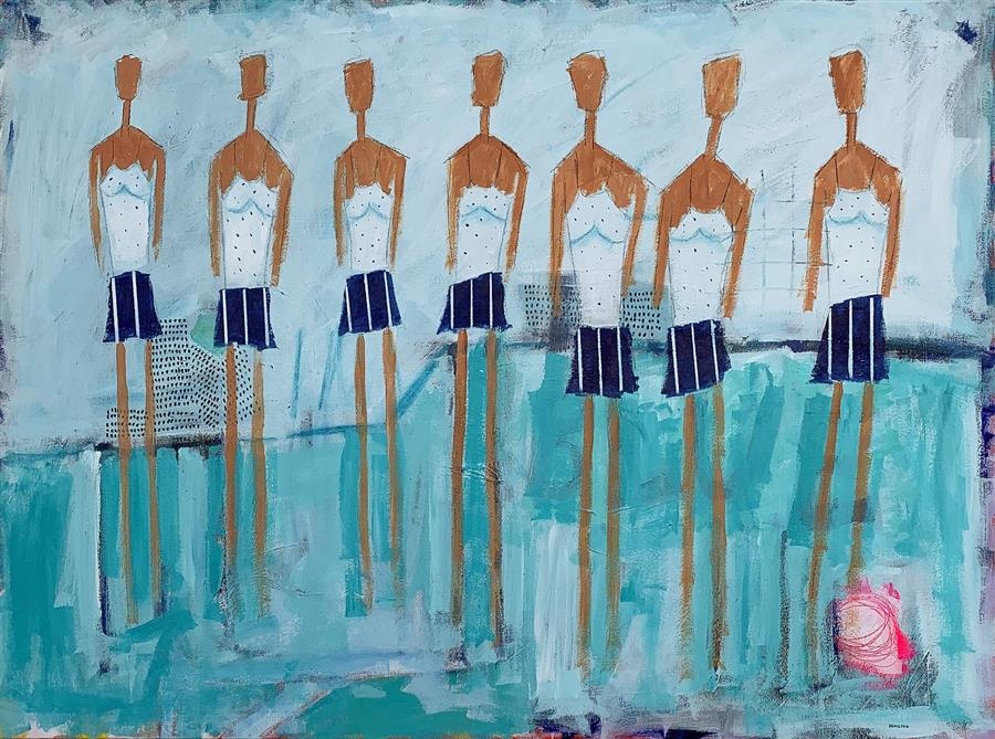 Original art for sale at UGallery.com | Blue Swim Team by Rick Hamilton | $2,275 | acrylic painting | 30' h x 40' w | ..\art\acrylic-painting-Blue-Swim-Team