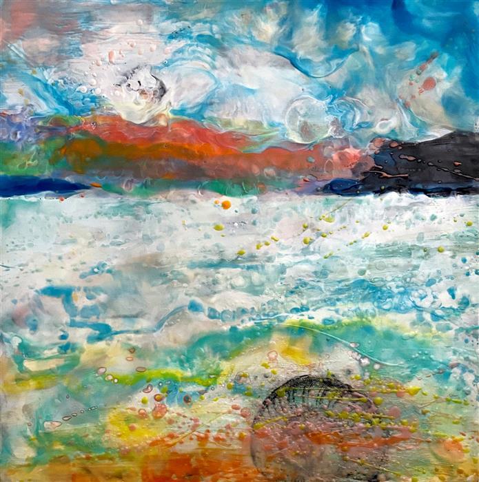 Original art for sale at UGallery.com | Buried Treasure by Karen Meadows | $1,900 | encaustic artwork | 24' h x 24' w | ..\art\encaustic-artwork-Buried-Treasure