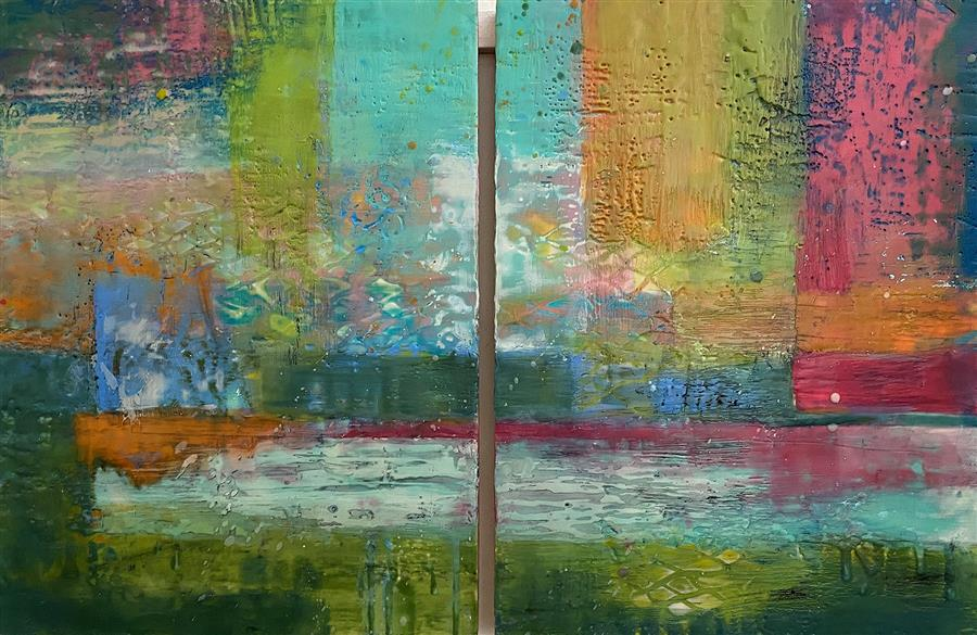 Original art for sale at UGallery.com | Sailing Through by Karen Meadows | $2,100 | encaustic artwork | 24' h x 36' w | ..\art\encaustic-artwork-Sailing-Through