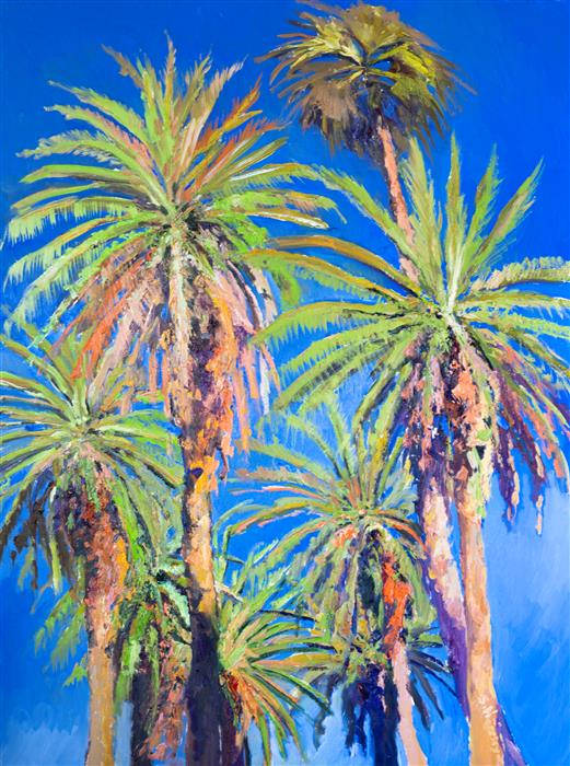 Original art for sale at UGallery.com | Palms of Beverly Hills by Suren Nersisyan | $1,600 | oil painting | 40' h x 30' w | ..\art\oil-painting-Palms-of-Beverly-Hills