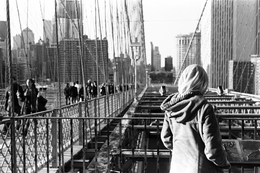 Original art for sale at UGallery.com | Woman on the Brooklyn Bridge by Adam Garelick | $25 | photography | 15' h x 10' w | ..\art\photography-Woman-on-the-Brooklyn-Bridge