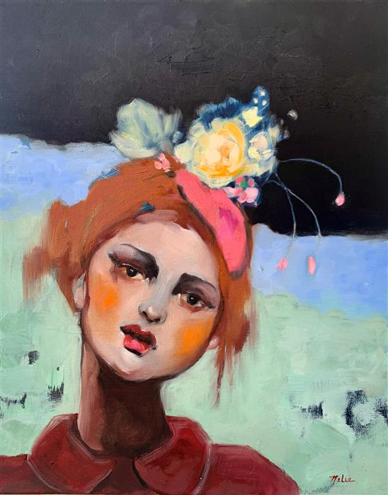 Original art for sale at UGallery.com | The Young Flower Waif by Malia Pettit | $900 | oil painting | 20' h x 16' w | ..\art\oil-painting-The-Young-Flower-Waif