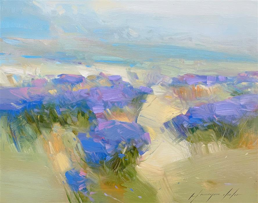 Original art for sale at UGallery.com | Hill of Lavenders by Vahe Yeremyan | $600 | oil painting | 14' h x 18' w | ..\art\oil-painting-Hill-of-Lavenders