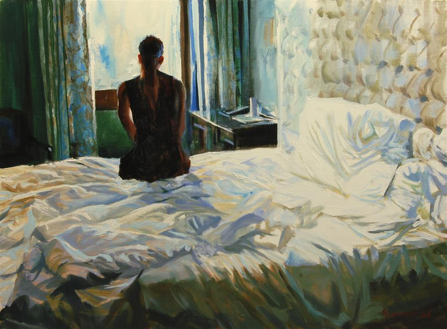 Original art for sale at UGallery.com | Morning Contemplation by Onelio Marrero | $1,125 | oil painting | 18' h x 24' w | ..\art\oil-painting-Morning-Contemplation