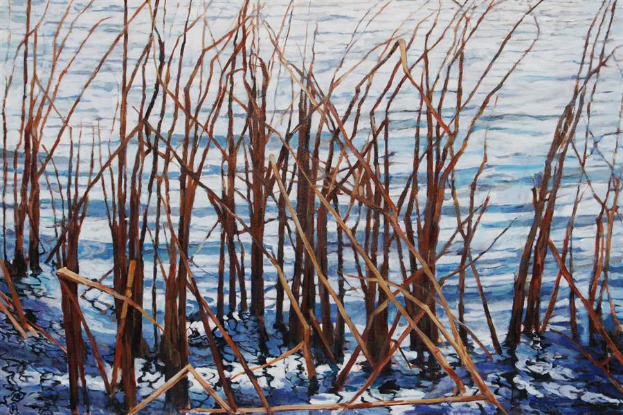 Original art for sale at UGallery.com | Reeds and Ripples by Heather Foster | $4,650 | acrylic painting | 32' h x 48' w | ..\art\acrylic-painting-Reeds-and-Ripples