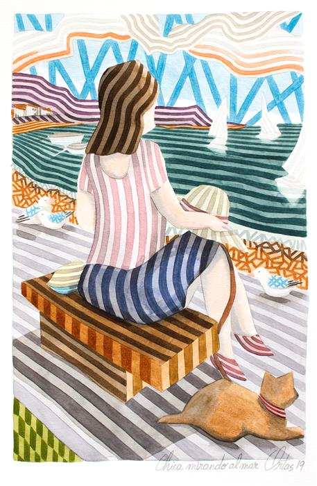 Original art for sale at UGallery.com | Girl Gazing at the Sea by Javier Ortas | $1,175 | watercolor painting | 19.68' h x 13.77' w | ..\art\watercolor-painting-Girl-Gazing-at-the-Sea