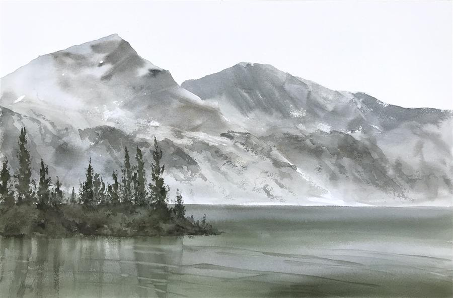 Original art for sale at UGallery.com | Lakeside Quiet by Jill Poyerd | $1,425 | watercolor painting | 16' h x 24' w | ..\art\watercolor-painting-Lakeside-Quiet