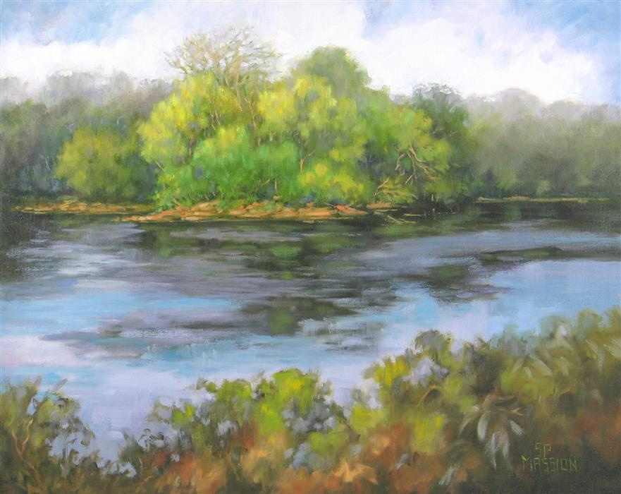 Original art for sale at UGallery.com | River Wide by Suzanne Massion | $450 | oil painting | 16' h x 20' w | ..\art\oil-painting-River-Wide