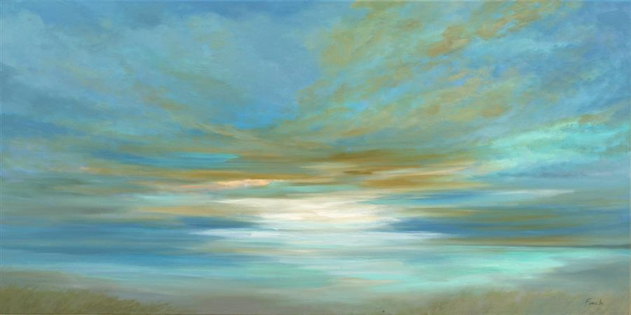 Original art for sale at UGallery.com | Siesta Key Sky by Sheila Finch | $3,300 | oil painting | 24' h x 48' w | ..\art\oil-painting-Siesta-Key-Sky