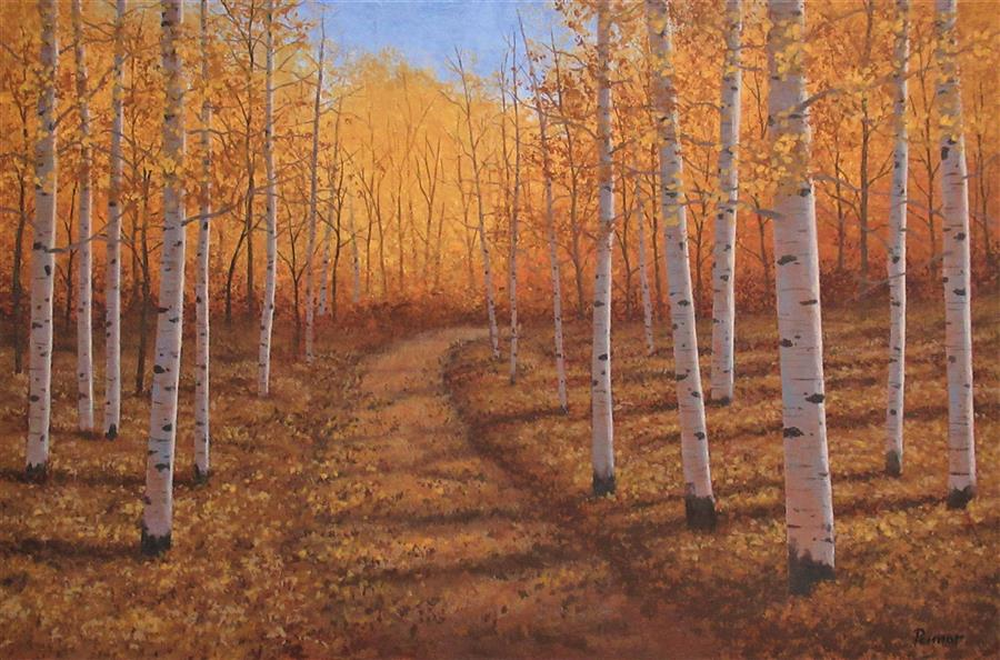 Original art for sale at UGallery.com | Aspen Path by Robert Pennor | $2,000 | acrylic painting | 24' h x 36' w | ..\art\acrylic-painting-Aspen-Path