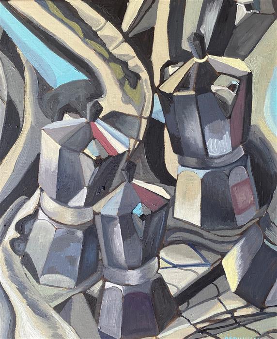 Original art for sale at UGallery.com | Cubist Coffee II by Rachel Srinivasan | $700 | oil painting | 20' h x 16' w | ..\art\oil-painting-Cubist-Coffee-II
