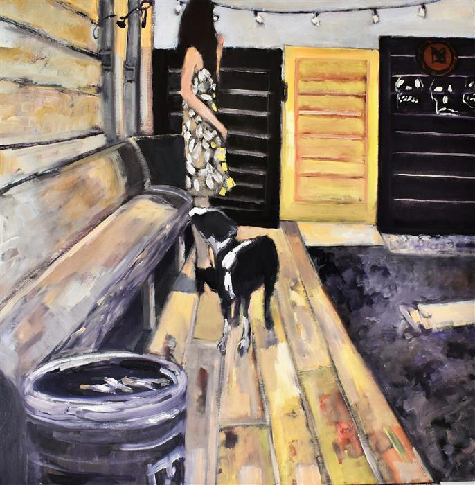 Original art for sale at UGallery.com | The Yellow Door by Mary Pratt | $1,900 | oil painting | 30' h x 30' w | ..\art\oil-painting-The-Yellow-Door