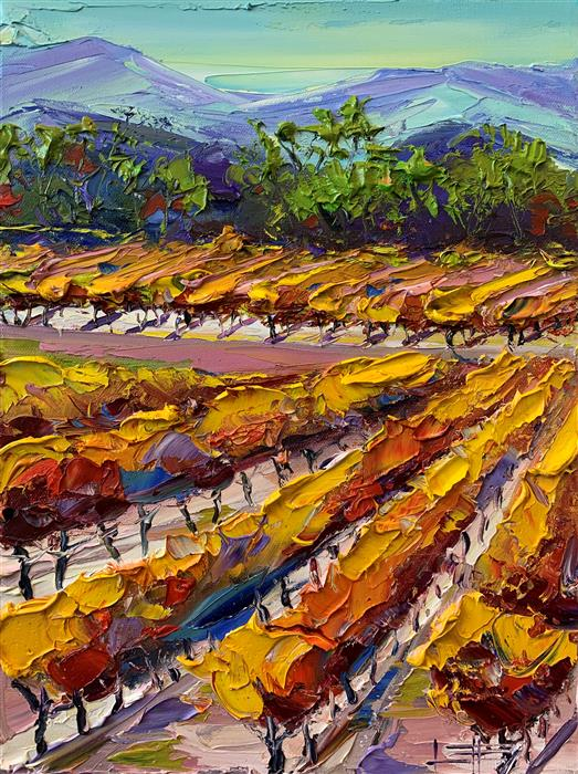 Original art for sale at UGallery.com | Autumn in Napa by Lisa Elley | $575 | oil painting | 16' h x 12' w | ..\art\oil-painting-Autumn-in-Napa