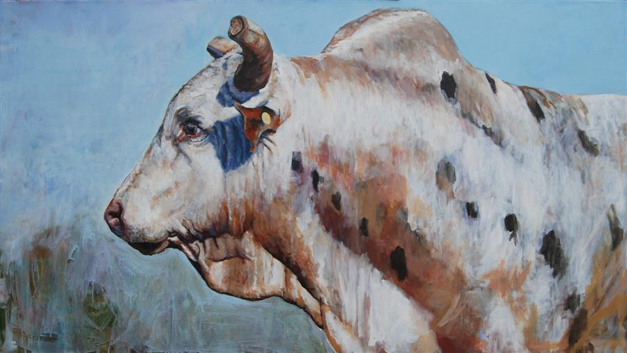Original art for sale at UGallery.com | That's a Lot of Bull by Heather Foster | $8,000 | acrylic painting | 40' h x 72' w | ..\art\acrylic-painting-That-s-a-Lot-of-Bull