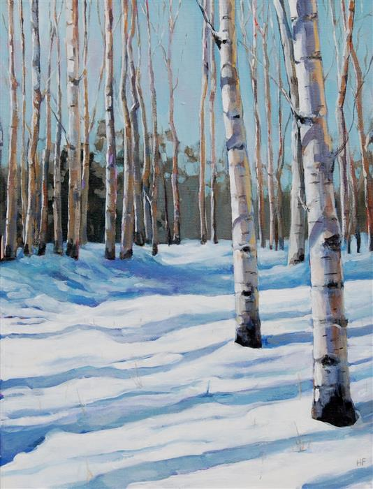 Original art for sale at UGallery.com | Snowy Aspen Path by Heather Foster | $1,275 | acrylic painting | 16' h x 12' w | ..\art\acrylic-painting-Snowy-Aspen-Path