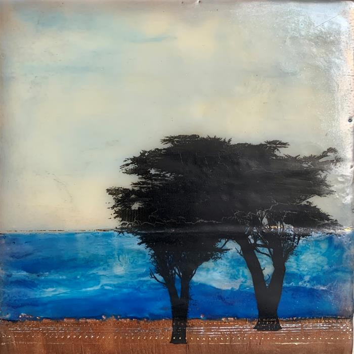 Original art for sale at UGallery.com | Spiaggia Blu Diece by Shari Lyon | $250 | encaustic artwork | 6' h x 6' w | ..\art\encaustic-artwork-Spiaggia-Blu-Diece