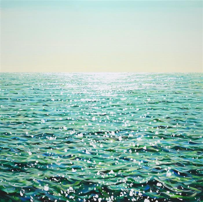 Original art for sale at UGallery.com | Emerald Waters by Iryna Kastsova | $2,450 | acrylic painting | 39' h x 39' w | ..\art\acrylic-painting-Emerald-Waters