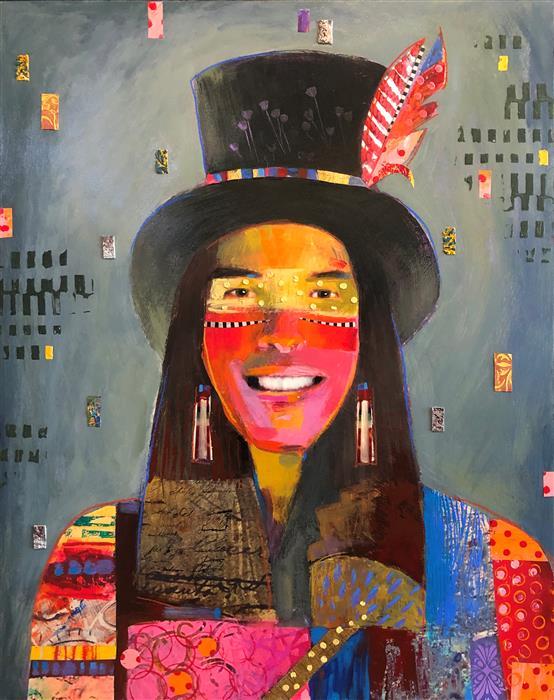 Original art for sale at UGallery.com | Raining Color by Darlene McElroy | $2,875 | mixed media artwork | 28' h x 22' w | ..\art\mixed-media-artwork-Raining-Color