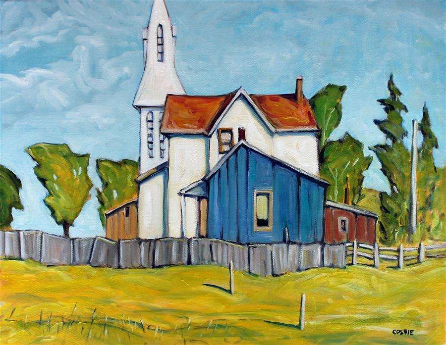 Original art for sale at UGallery.com | Pierces Corners, Ontario by Doug Cosbie | $400 | oil painting | 14' h x 18' w | ..\art\oil-painting-Pierces-Corners-Ontario