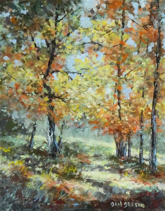 Original art for sale at UGallery.com | Shadows of Autumn by Gail Greene | $300 | oil painting | 10' h x 8' w | ..\art\oil-painting-Shadows-of-Autumn