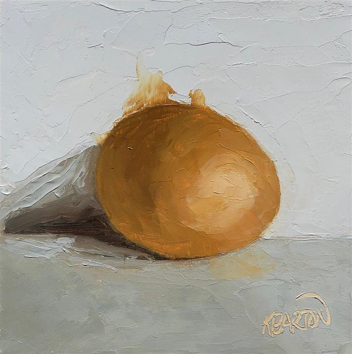 Original art for sale at UGallery.com | One Brown Egg by Karen Barton | $260 | oil painting | 6' h x 6' w | ..\art\oil-painting-One-Brown-Egg