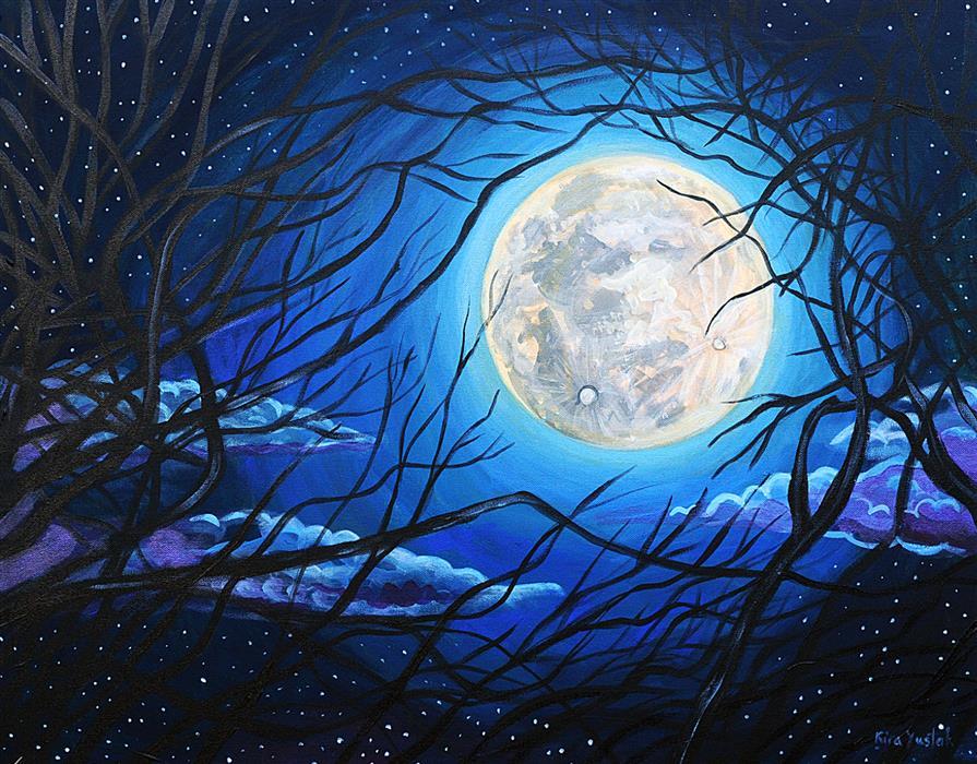 Original art for sale at UGallery.com   Moonlight by Kira Yustak   $825   acrylic painting   22' h x 28' w   ..\art\acrylic-painting-Moonlight