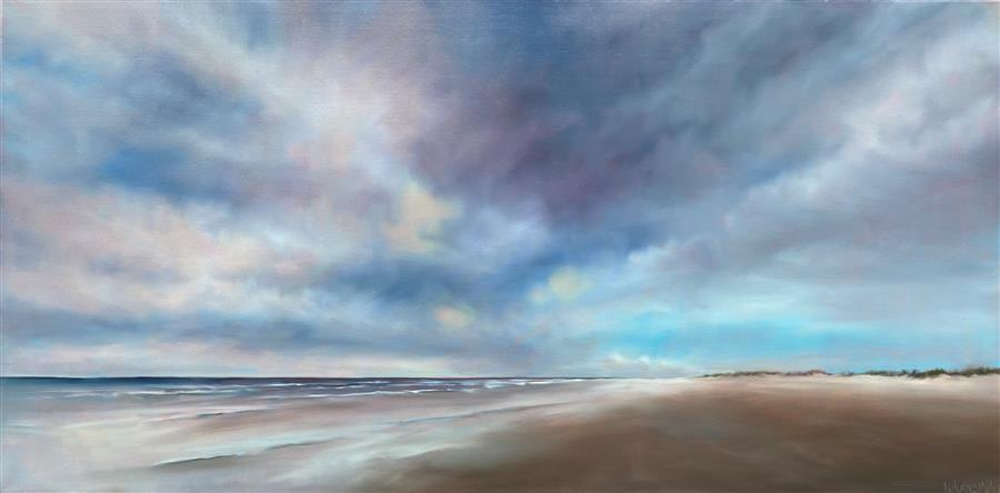 Original art for sale at UGallery.com | Quiet Beach Walk by Nancy Hughes Miller | $1,775 | oil painting | 20' h x 40' w | ..\art\oil-painting-Quiet-Beach-Walk