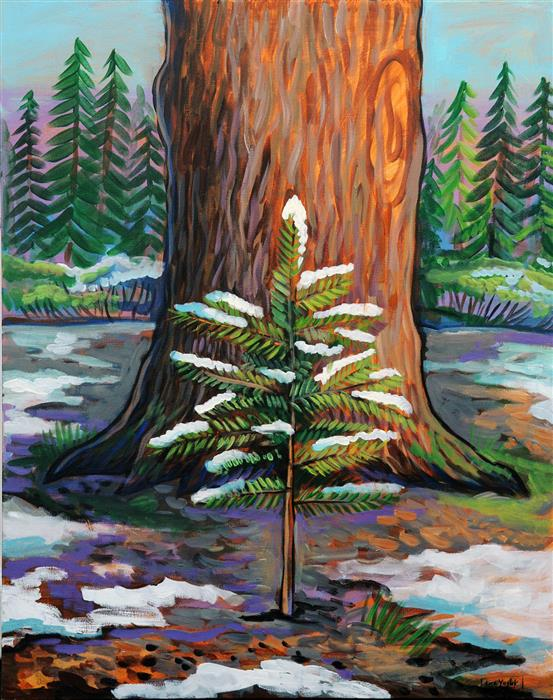 Original art for sale at UGallery.com | Forest Life Cycle by Kira Yustak | $1,025 | acrylic painting | 30' h x 24' w | ..\art\acrylic-painting-Forest-Life-Cycle