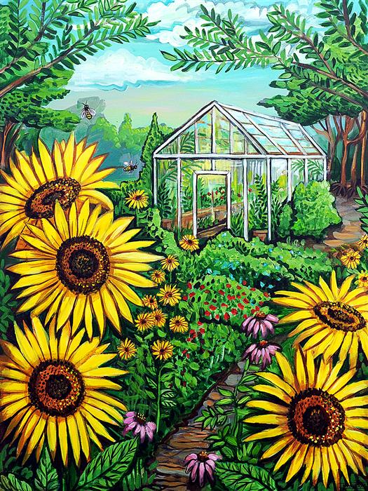 Original art for sale at UGallery.com | The Greenhouse by Kira Yustak | $1,575 | acrylic painting | 40' h x 30' w | ..\art\acrylic-painting-The-Greenhouse