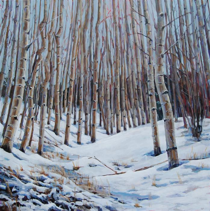 Original art for sale at UGallery.com | Snowy Aspen Grove by Heather Foster | $3,500 | acrylic painting | 36' h x 36' w | ..\art\acrylic-painting-Snowy-Aspen-Grove