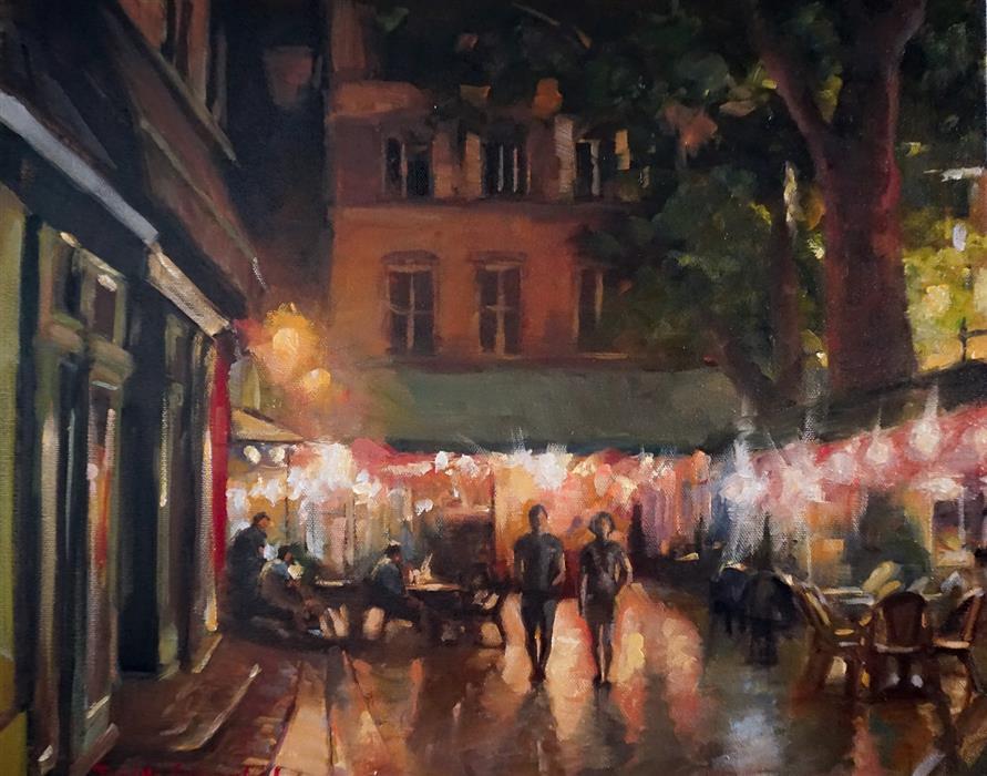 Original art for sale at UGallery.com | Summer Night in Aix en Provence by Jonelle Summerfield | $950 | oil painting | 16' h x 20' w | ..\art\oil-painting-Summer-Night-in-Aix-en-Provence
