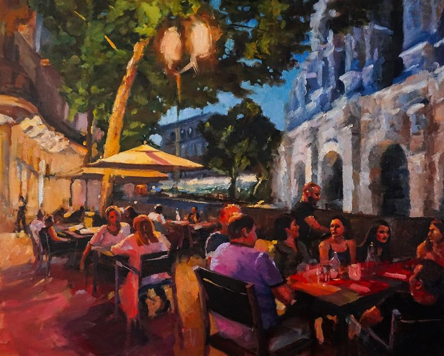 Original art for sale at UGallery.com | Dinner in Nimes by Jonelle Summerfield | $1,000 | oil painting | 16' h x 20' w | ..\art\oil-painting-Dinner-in-Nimes