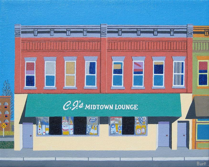 Original art for sale at UGallery.com | C.J.'s Midtown Lounge by Leroy Burt | $375 | acrylic painting | 8' h x 10' w | ..\art\acrylic-painting-C-J-s-Midtown-Lounge