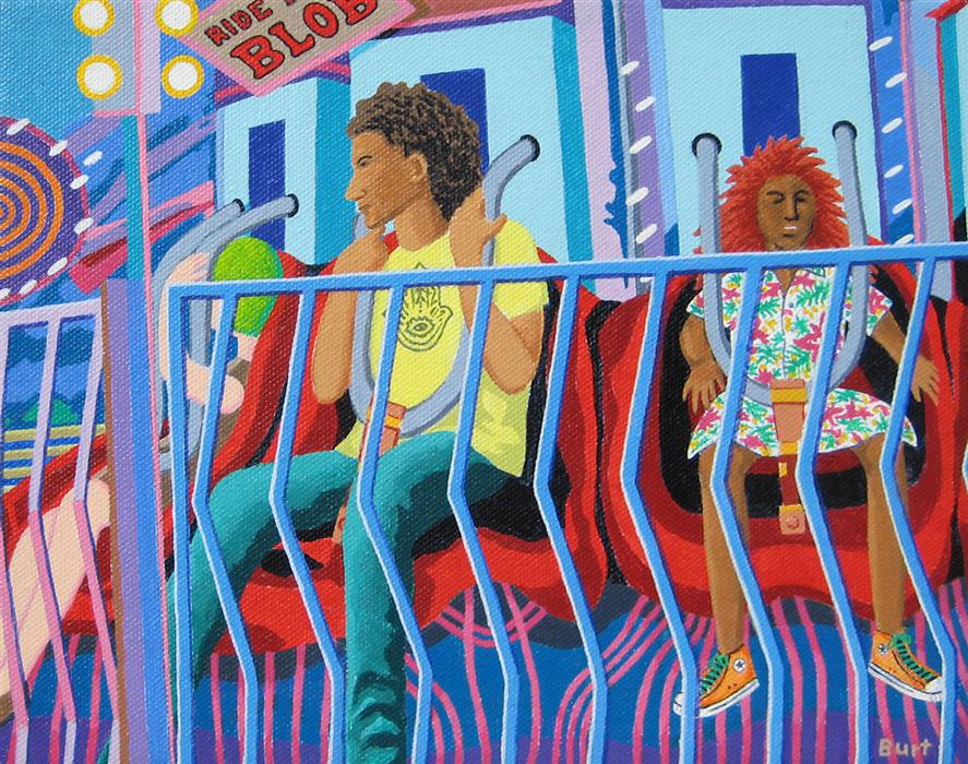 Original art for sale at UGallery.com | Carnival Ride by Leroy Burt | $375 | acrylic painting | 8' h x 10' w | ..\art\acrylic-painting-Carnival-Ride
