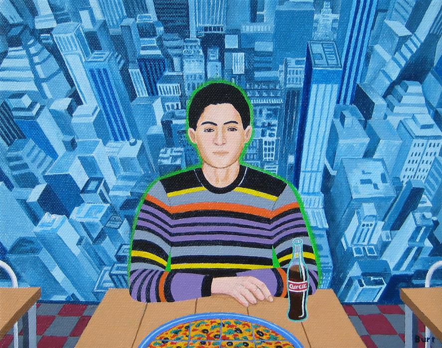 Original art for sale at UGallery.com | Jamie at Pasquale's Pizzeria by Leroy Burt | $375 | acrylic painting | 8' h x 10' w | ..\art\acrylic-painting-Jamie-at-Pasquale-s-Pizzeria