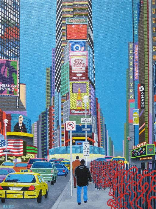Original art for sale at UGallery.com | Red Sculptures in Times Square by Leroy Burt | $575 | acrylic painting | 16' h x 12' w | ..\art\acrylic-painting-Red-Sculptures-in-Times-Square
