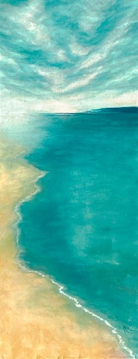 Original art for sale at UGallery.com | Aqua Dreamscape VI by Mandy Main | $1,700 | oil painting | 40' h x 16' w | ..\art\oil-painting-Aqua-Dreamscape-VI