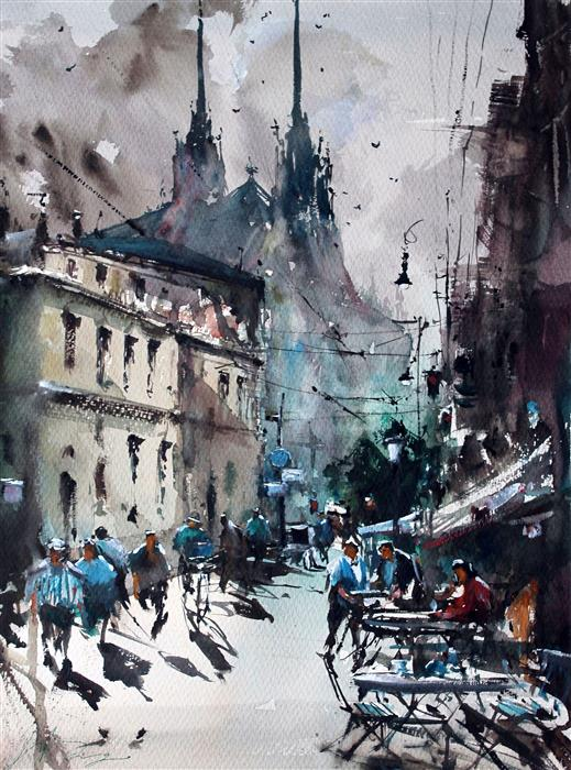 Original art for sale at UGallery.com | Before the Rain by Maximilian Damico | $700 | watercolor painting | 22' h x 14' w | ..\art\watercolor-painting-Before-the-Rain