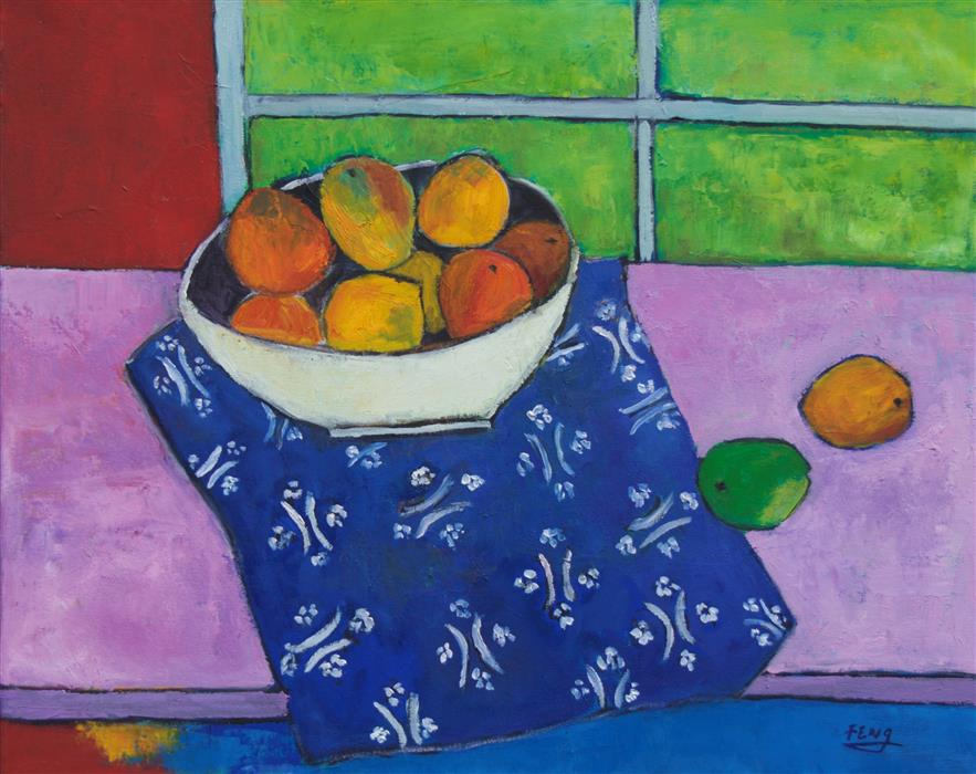 Original art for sale at UGallery.com | Gauguin's Mango by Feng Biddle | $1,275 | oil painting | 24' h x 30' w | ..\art\oil-painting-Gauguin-s-Mango