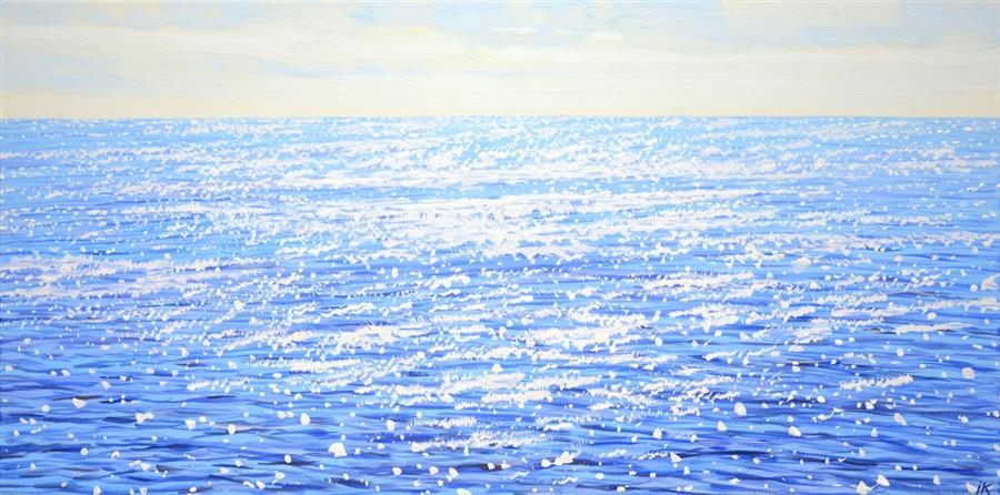 Original art for sale at UGallery.com | Calm Ocean by Iryna Kastsova | $1,350 | acrylic painting | 20' h x 39' w | ..\art\acrylic-painting-Calm-Ocean