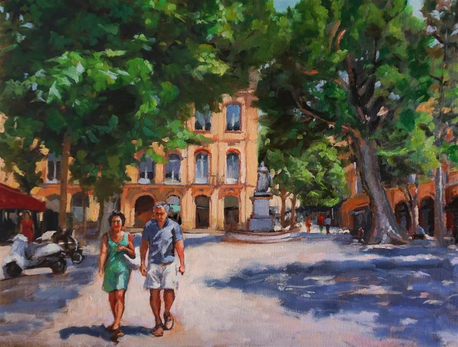Original art for sale at UGallery.com | Afternoon Stroll in Provence by Jonelle Summerfield | $1,100 | oil painting | 18' h x 24' w | ..\art\oil-painting-Afternoon-Stroll-in-Provence