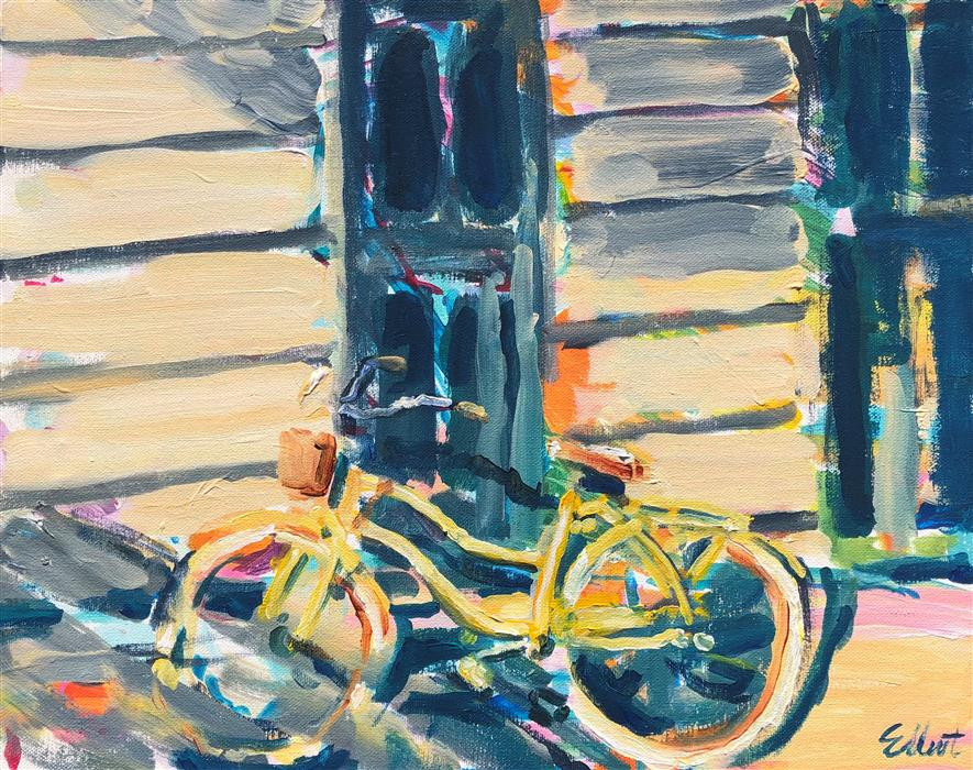 Original art for sale at UGallery.com | Yellow Bicycle by Elliot Coatney | $450 | acrylic painting | 16' h x 20' w | ..\art\acrylic-painting-Yellow-Bicycle