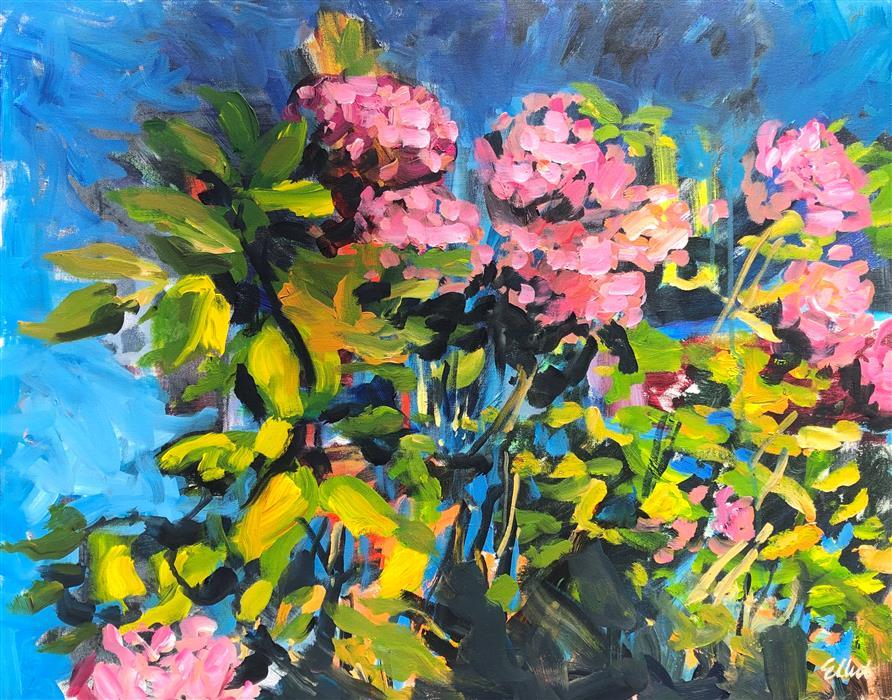 Original art for sale at UGallery.com | Hydrangea Bush by Elliot Coatney | $925 | acrylic painting | 24' h x 30' w | ..\art\acrylic-painting-Hydrangea-Bush